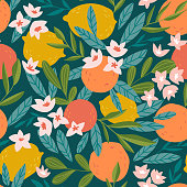 Tropical summer fruit seamless pattern. Citrus tree in hand drawn style. Vector fabric design with oranges, lemons and flowers.