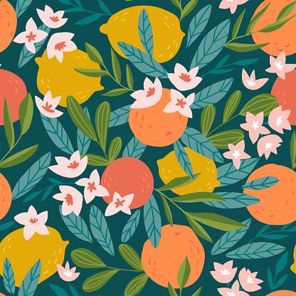 Tropical Summer Fruit Seamless Pattern Citrus Tree In Hand Drawn Style Vector Fabric Design With Oranges Lemons And Flowers — стоковая векторная графика и другие изображения на тему Абстрактный