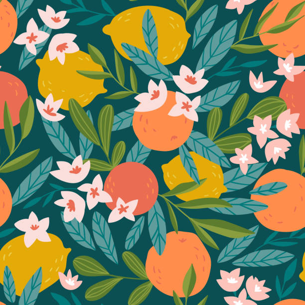 stockillustraties, clipart, cartoons en iconen met tropisch zomer fruit naadloze patroon. citrus boom in de hand getekend stijl. vector weefsel ontwerp met sinaasappelen, citroenen en bloemen. - bloemenmotief