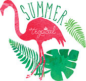 Vector illustration of a Tropical summer hand drawn flamingos and tropical elements. Includes watercolor texture with flamingos in various poses, tropical leaves and flowers, hand lettered summer and tropical words. Easy to edit with layers.