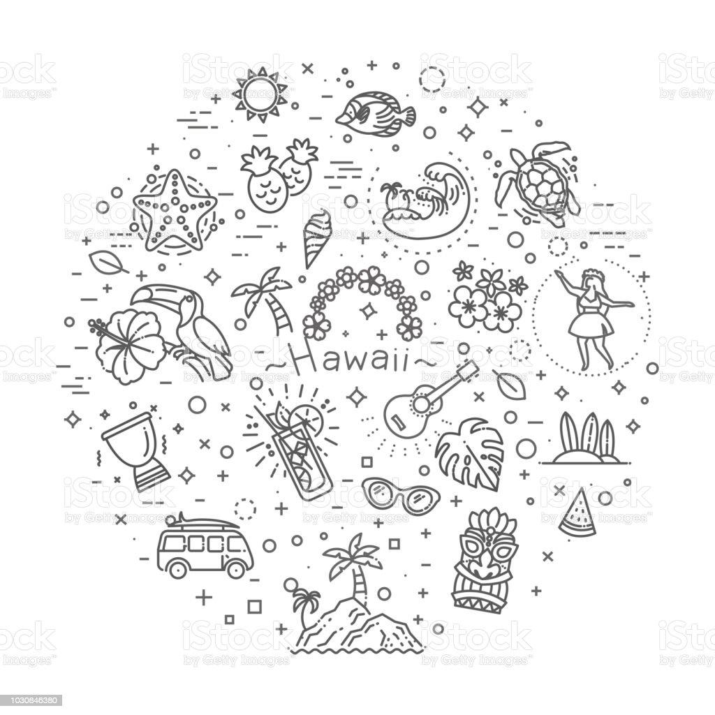 Tropischer Sommer, Hawaii Symbolsatz mit weißem Hintergrund – Vektorgrafik
