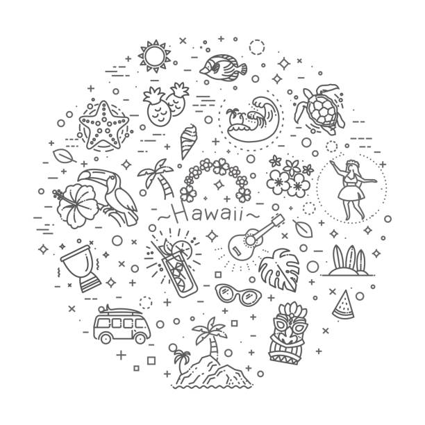 tropical summer, hawaii icon set with white background - jungle stock illustrations
