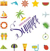 Tropical Summer holiday vector background.