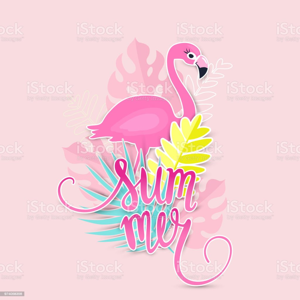 Tropical Summer Illustration With Pink Flamingo Stock ...