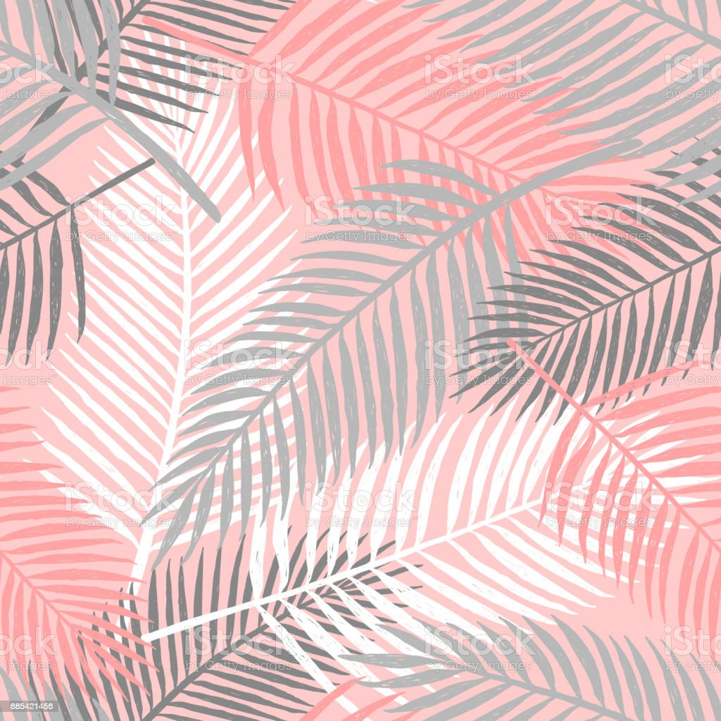 Tropical summer palm leaves seamless pattern. vector art illustration