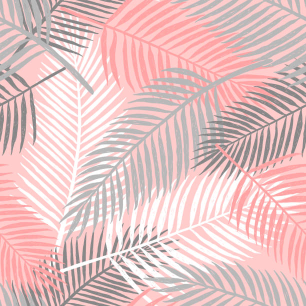 tropical summer palm leaves seamless pattern. - bohemian fashion stock illustrations, clip art, cartoons, & icons