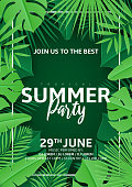 Tropical summer party flyer. Vector illustration with tropical leaves in paper cut style on dark green background. Invitation to nightclub.