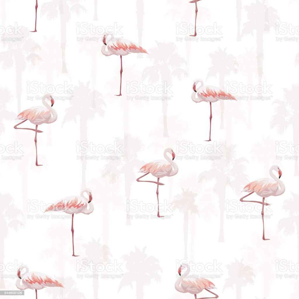 Tropical summer seamless pattern with flamingo birds - Royalty-free Achtergrond - Thema vectorkunst
