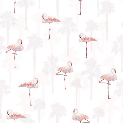 Tropical Summer Seamless Pattern With Flamingo Birds Stockvectorkunst en meer beelden van Achtergrond - Thema