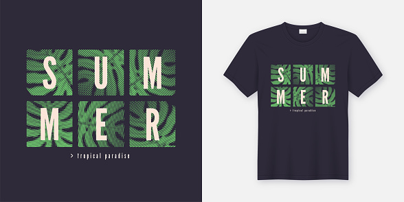 Tropical summer styled t-shirt and apparel modern design, typography, print, vector illustration.