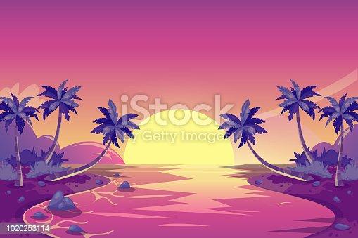 Tropical summer sunset. Vector cartoon island landscape illustration. Palm trees on the ocean beach. Romantic vacation background.