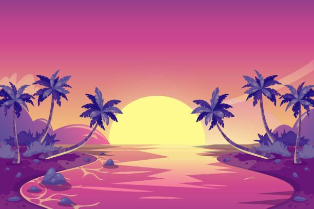 ilustrações, clipart, desenhos animados e ícones de pôr do sol de verão tropical. ilustração de paisagem ilha de desenho vetorial. palmeiras na praia oceano. - laguna