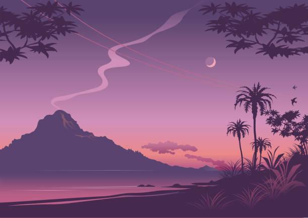 Tropical sunset illustration in shades of purple vector art illustration