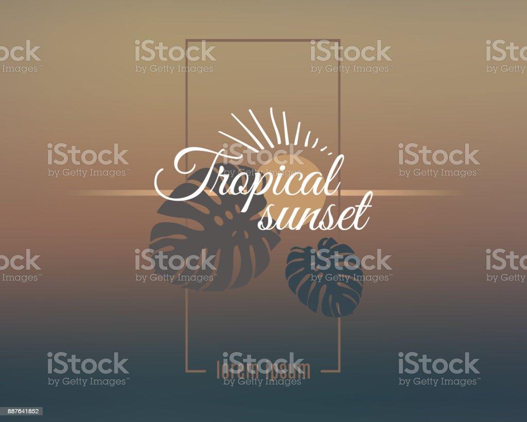 Tropical sunset logo on elegance blurred background vector art illustration