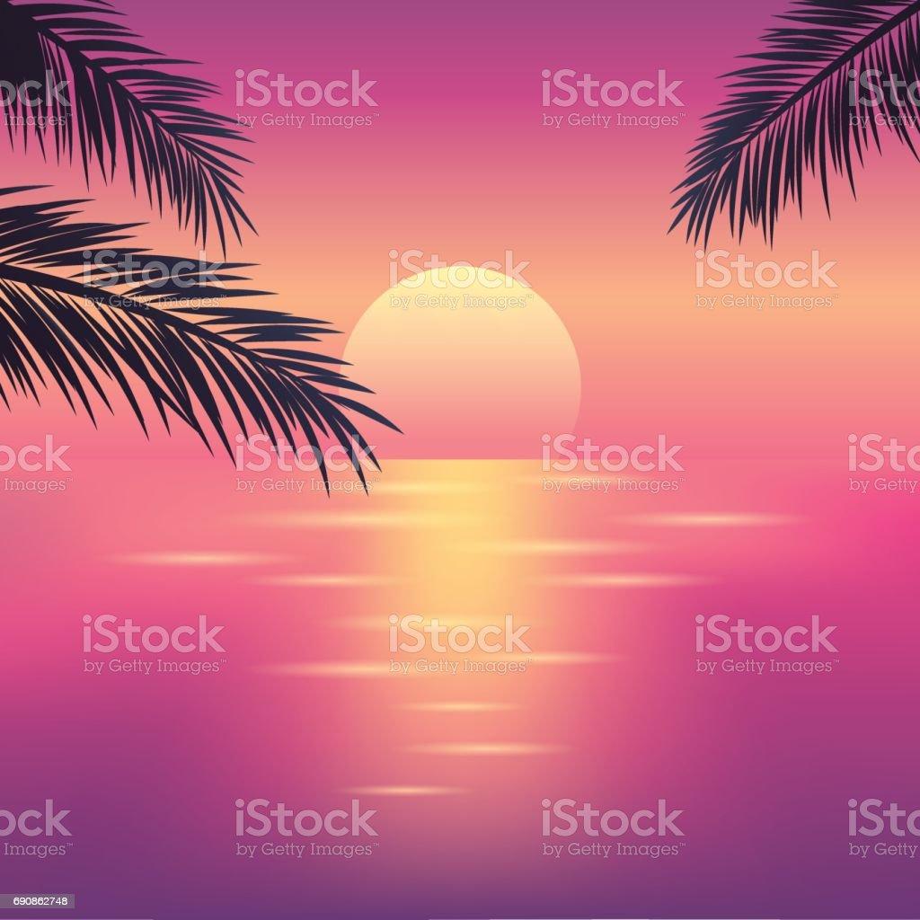 海の熱帯の夕日 ベクターアートイラスト