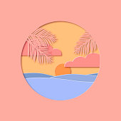 Tropical sunset paper cut vector illustration. Pastel shades image with palm tree leaves, sea waves, clouds and sun. Template perfect for cards, posters, backgrounds.