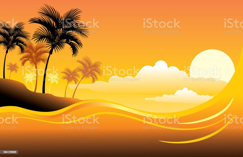 Tropical sunset seascape royalty-free tropical sunset seascape stock vector art & more images of beach