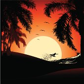 tropical sunset with surfer in aereal against the sun