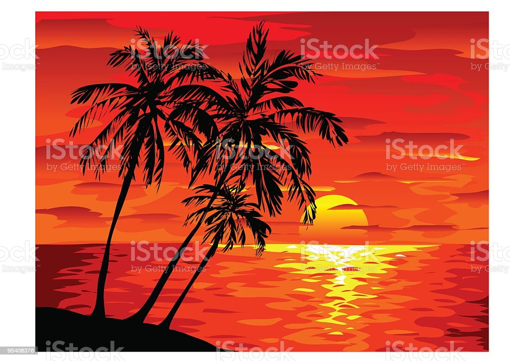 Tropical Sunset royalty-free stock vector art