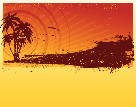 Tropical sunset with space for copy