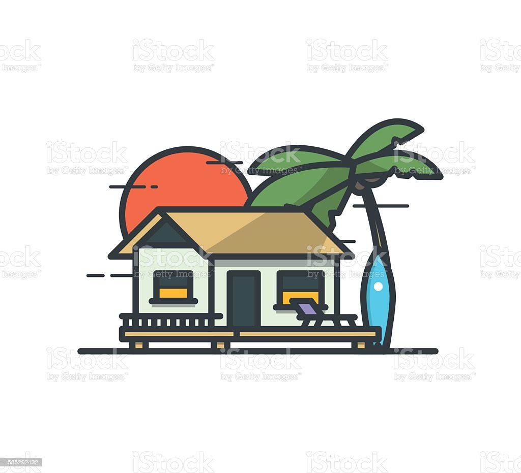 Tropical surf Bungalow. Vector outline flat illustration. vector art illustration