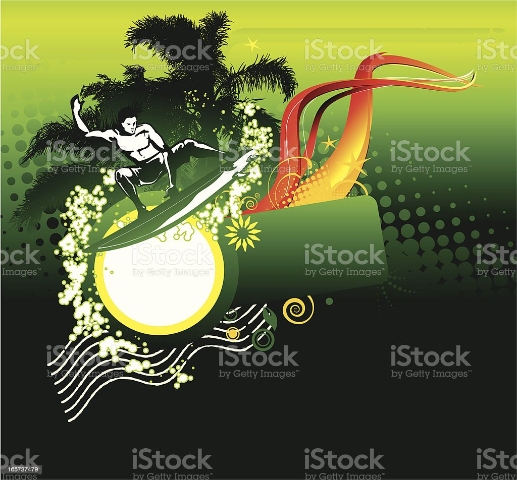 Tropical Surfer royalty-free stock vector art