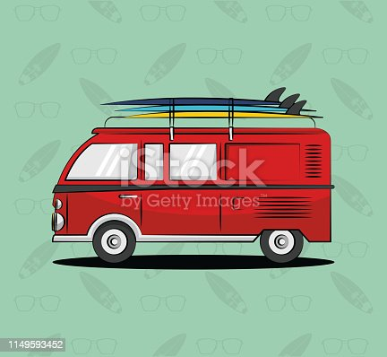 red van and palm trees lifestyle poster card vector illustration graphic design