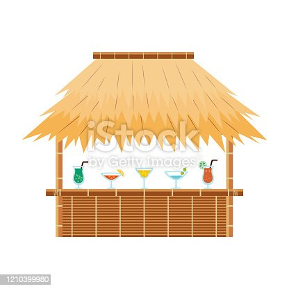 Tropical tiki bar hut with cocktail drinks on counter - exotic straw beach cafe for summer vacation resort isolated on white background. Flat vector illustration.