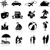 tropical vacation black and white icon set