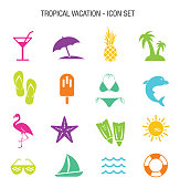 Vector of Tropical Vacation Icon Set