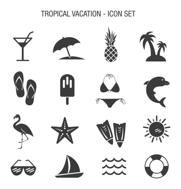 tatil tropikal icon set - tatil stock illustrations