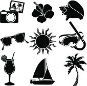Vector icons with a tropical vacation theme.