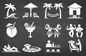Tropical Vacation Vector Icon Set on Black Chalkboard Vector Icon Set