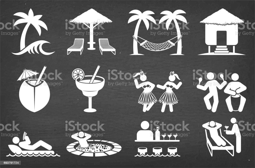 Tropical Vacation Vector Icon Set on Black Chalkboard Vector Icon Set vector art illustration