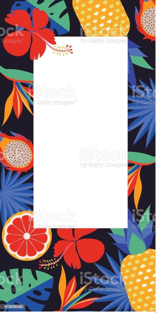 Tropical vector frame with place for text. Bright exotic flowers, palm leaves and fruit. tropical vector frame with place for text bright exotic flowers palm leaves and fruit – cliparts vectoriels et plus d'images de affiche libre de droits