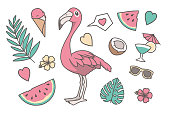 Tropical vector illustration set with cute cartoon style pink Flamingo bird, Palm and Monstera leaf, hearts, coconut, sunglasses, cocktail drink, watermelon and flowers