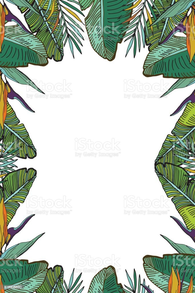 Plantilla Vertical Tropical Con Hojas De Palma Y Flores Tropicales ...
