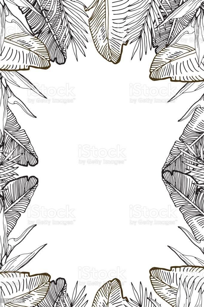 Ilustración de Plantilla Vertical Tropical Con Hojas De Palma Y ...