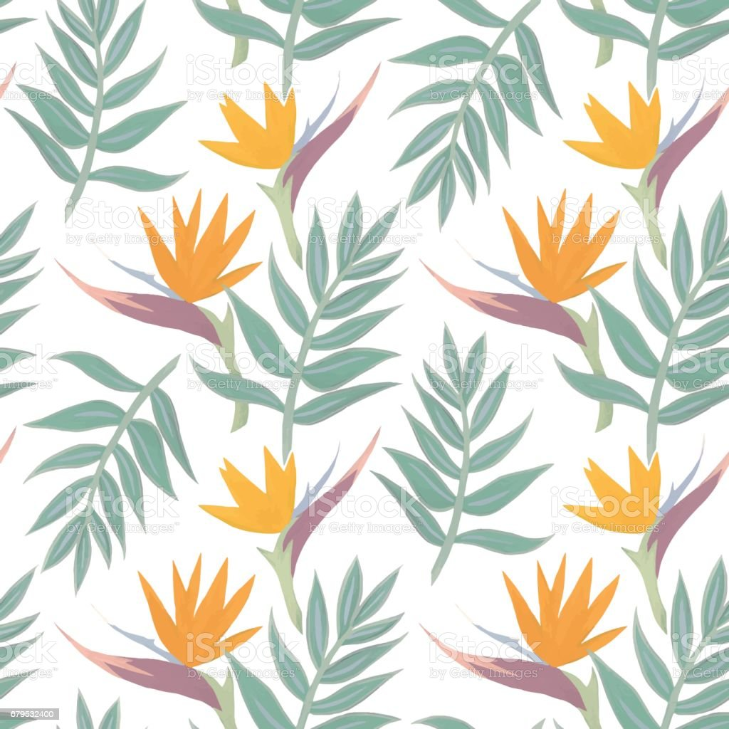 Tropical watercolor vector pattern royalty-free tropical watercolor vector pattern stock vector art & more images of abstract