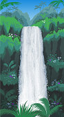 A tall waterfall streams down amid jungle foliage.