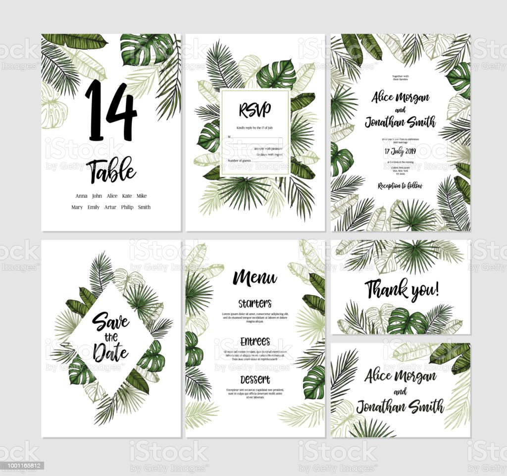 Tropical wedding collection. Invitations with palm leaves. Hand drawn vector templates (Save the date, RSVP, menu, Thank you card). Perfect for prints, posters, invitations, greeting cards etc
