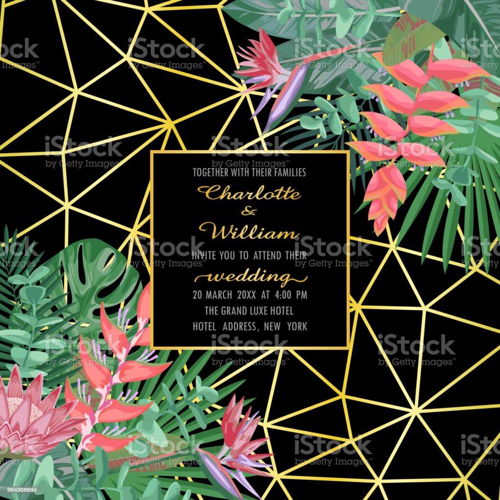 Convite de casamento tropical sobre fundo geométrico - Vetor de Abstrato royalty-free