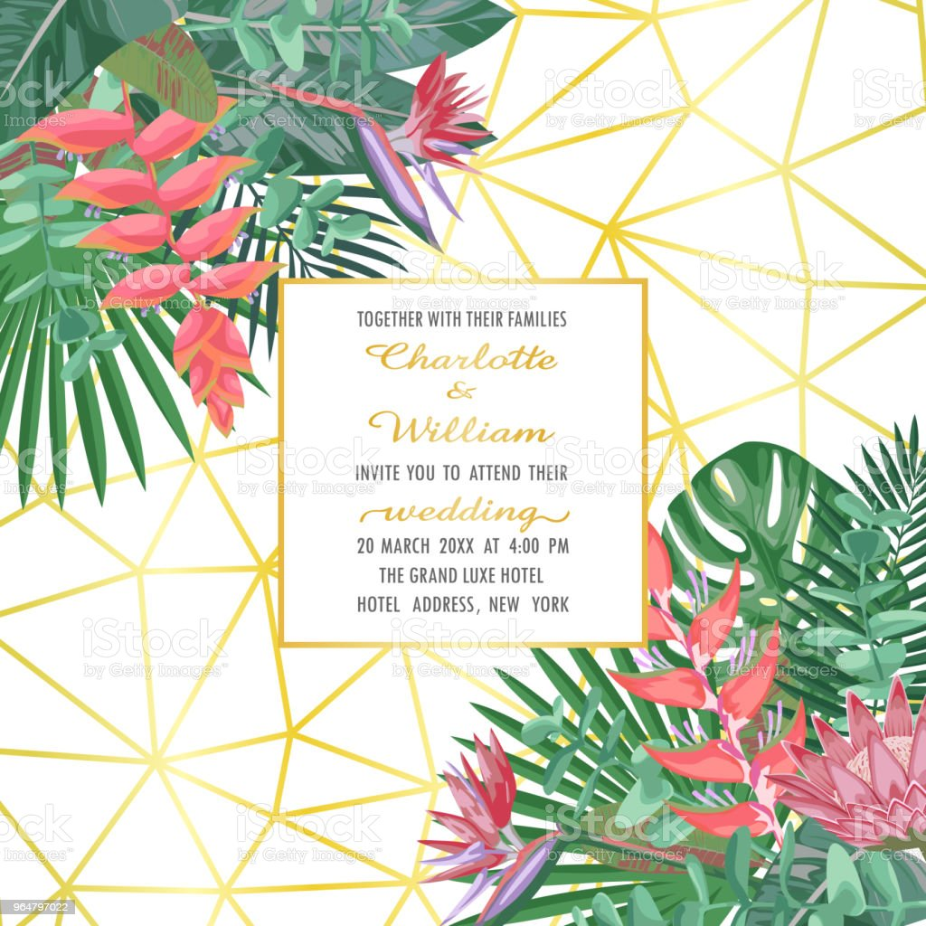 Tropical Wedding Invitation on Geometric Background royalty-free tropical wedding invitation on geometric background stock vector art & more images of abstract