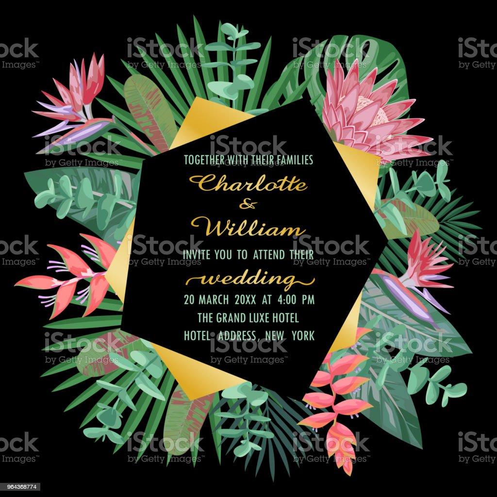 Convite de casamento tropical com quadro geométrico - Vetor de Beleza royalty-free