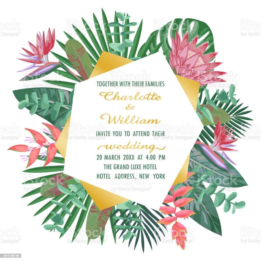 Tropical Wedding Invitation with Geometric Frame royalty-free tropical wedding invitation with geometric frame stock vector art & more images of art