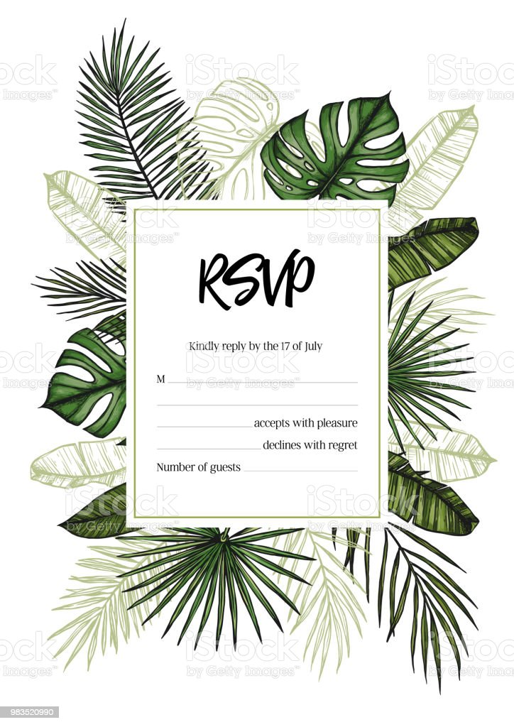 Tropical Wedding Rsvp Invitation With Palm Leaves Hand Drawn Vector Template Perfect For Prints Posters Invitations Greeting Cards Etc Stock Illustration Download Image Now Istock Find over 100+ of the best free tropical leaves images. tropical wedding rsvp invitation with palm leaves hand drawn vector template perfect for prints posters invitations greeting cards etc stock illustration download image now istock