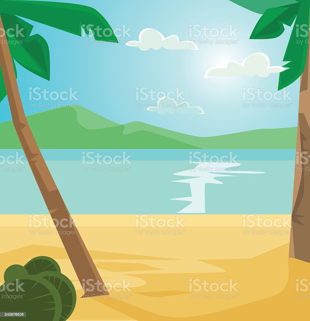 Tropical wild empty beach. Vector flat cartoon illustration vector art illustration