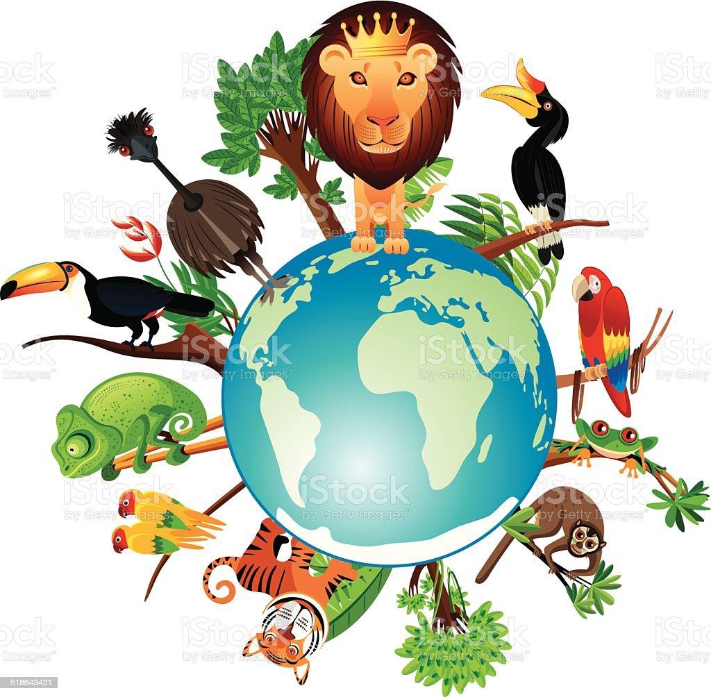 Tropical World vector art illustration