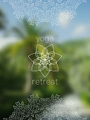 Tropical yoga retreat banner with mandala