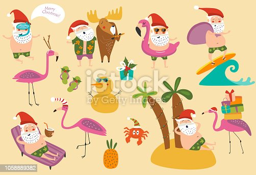 Tropical Christmas vector set with cute Santa, flamingos and other Christmas attributes. Cartoon style